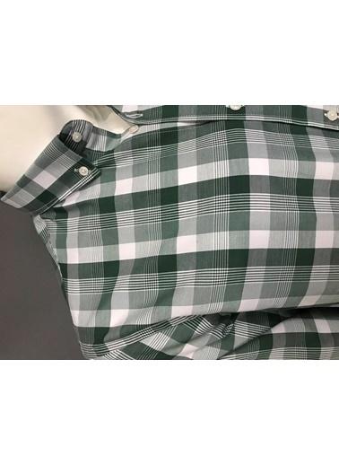Abbate Kolay Ütülenır Düğmelı Yaka Ekose Regular Fıt Ceplı Gömlek Yeşil